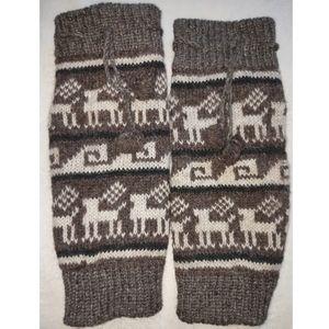 100% Wool Nepal Leg Warmers with Pom Poms